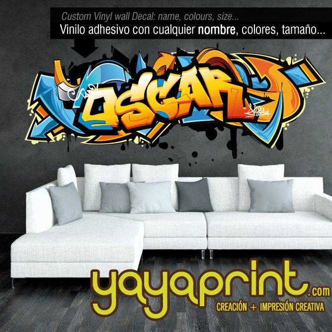 Graffiti cualquier nombre personalizado Arte Niño Niña Dormitorios Pared Arte Decoración Decal Sticker
