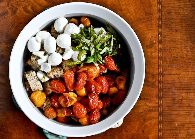 Roasted Tomato Caprese Panzanella via @How Sweet Eats