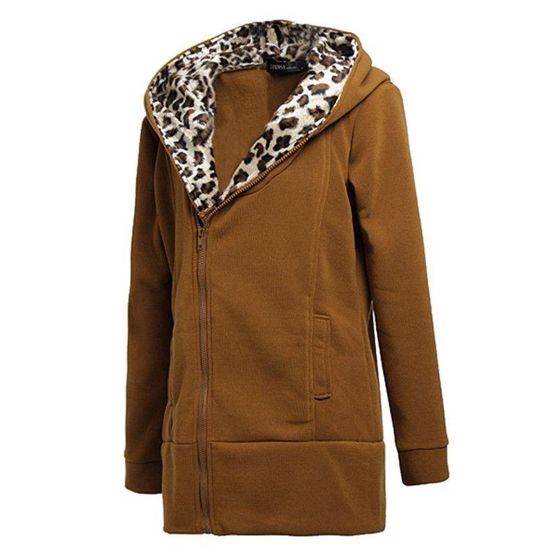Fashion Women Autumn Winter Coat 2016 Long Sleeve Casual Leopard Hooded Zipper Sweatshirts Ladies Outwear Jacket casaco feminino