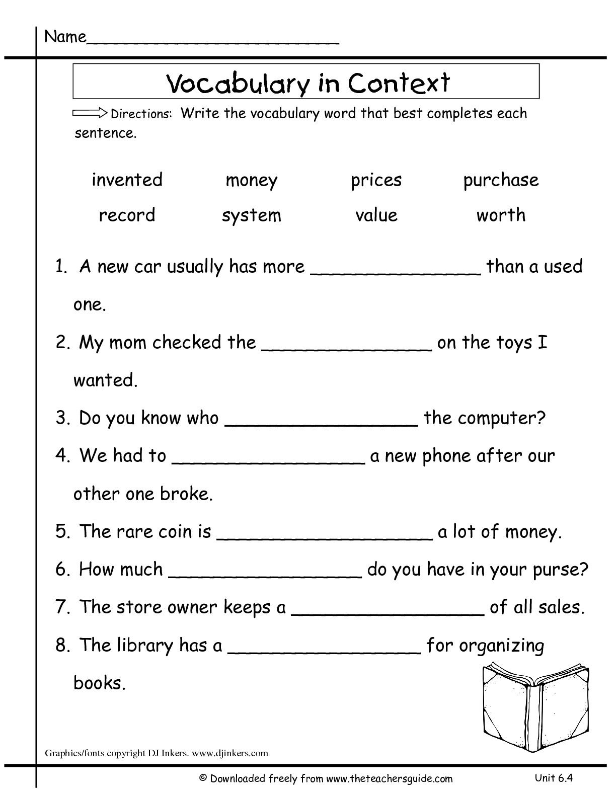Image Result For Vocabulary Word Worksheet Grade 7 With
