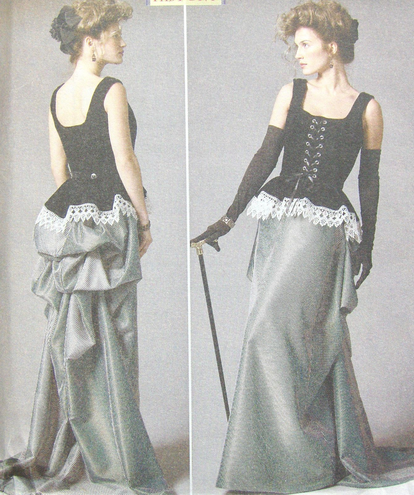 Bustle skirt and corset sewing pattern, Butterick B5969 steampunk goth size 6-22…