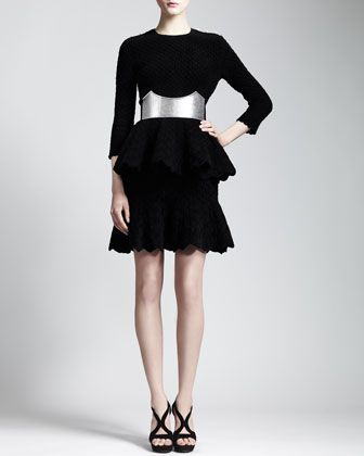 3/4-Sleeve Diamond-Quilted Peplum Top, Diamond-Quilted Skirt & Cathedral Belt by Alexander McQueen at Bergdorf Goodman.