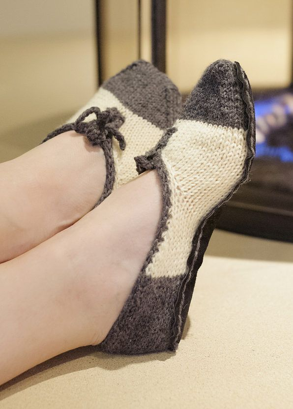 Knitting Pattern for All That Jazz Slippers - Two-tone ...
