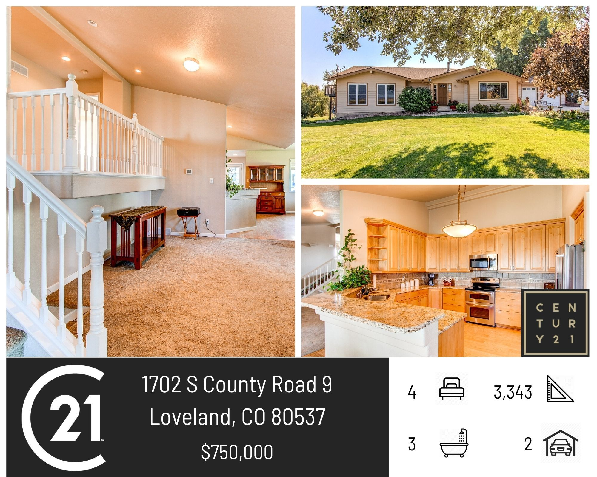 4 bed, 3 bath country home on 2 acres, open floor plan, a walk-out lower level and great views! Call us to set up a showing today! 970.224.1800 #C21Humpal #SellingNoCo #LovelandColorado #JustListed #realestate #horseproperty