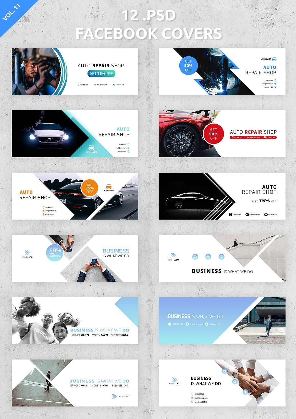 12 Facebook Covers By Unik Agency On Creativemarket