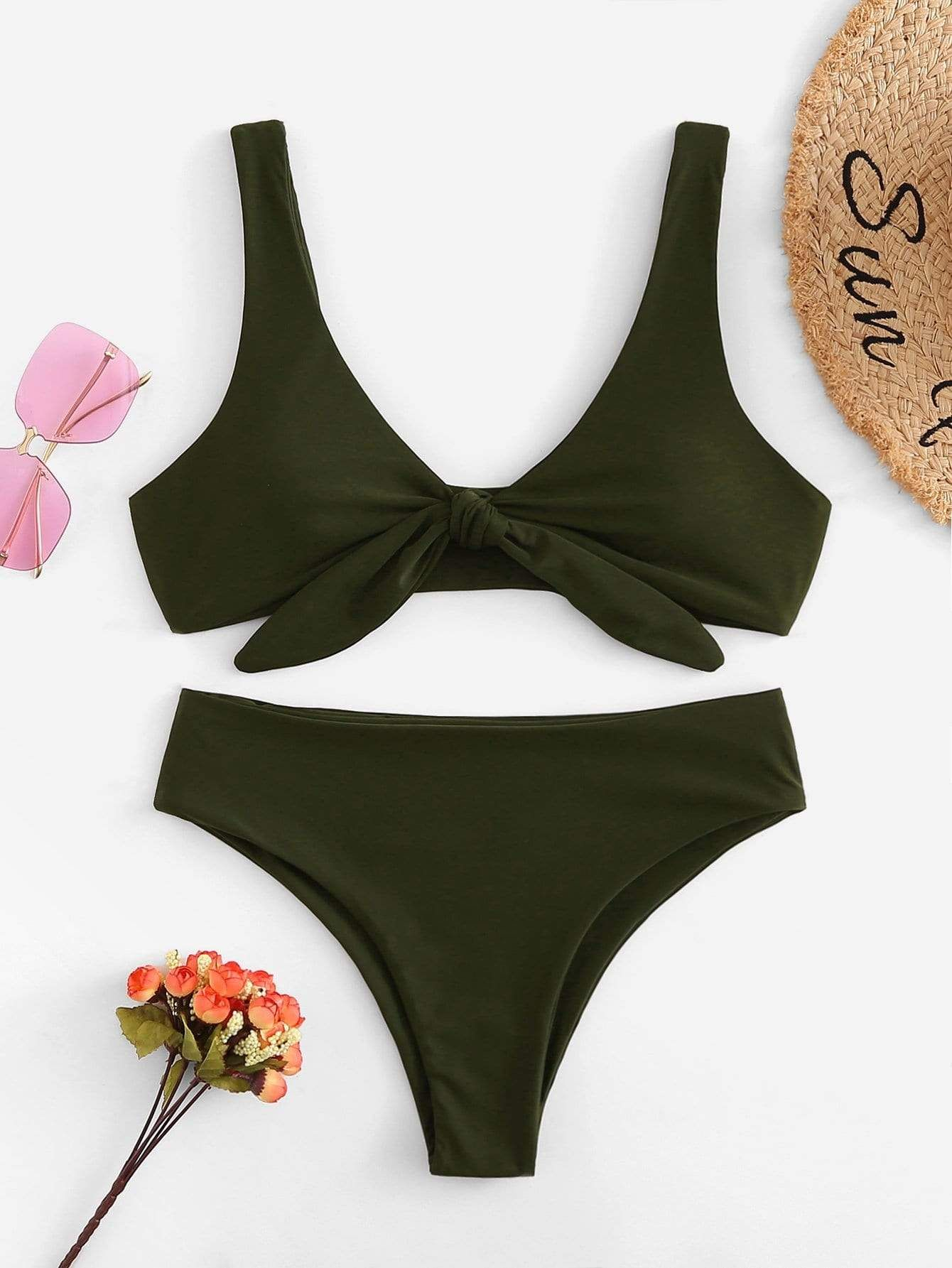 cdc3b80bf4a71 Knot Front Top With High Leg Bikini Set in 2019 | Girls Fashion ...