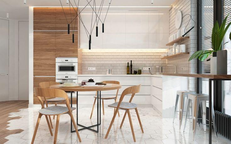 hell-holz-weiß-backstein-küche-und-wohnbereich-skandinavisch-fühlen