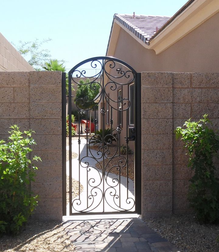 Scrolled Arched Wrought Iron Side Gate Wooden Fence