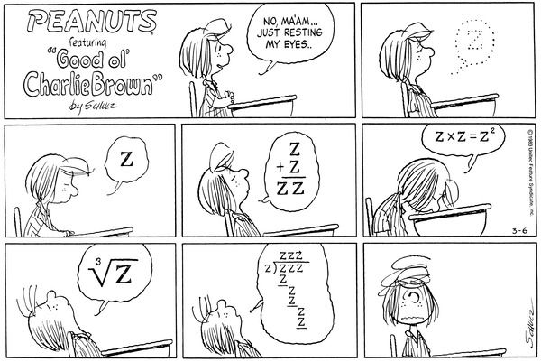 Image result for comic maths asleep peanuts