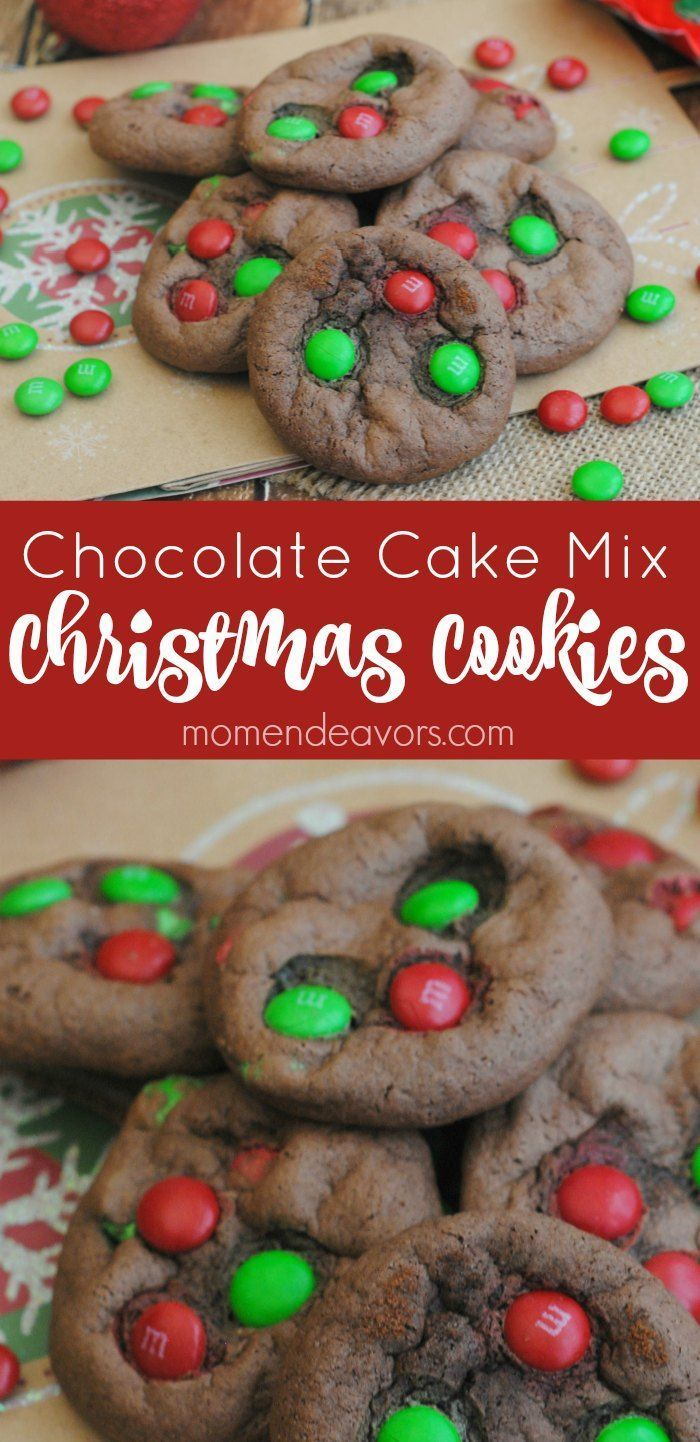 Chocolate Cake Mix Christmas Cookies SUPER easy & tasty
