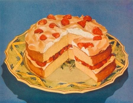 1950's cookbook cake clip art.