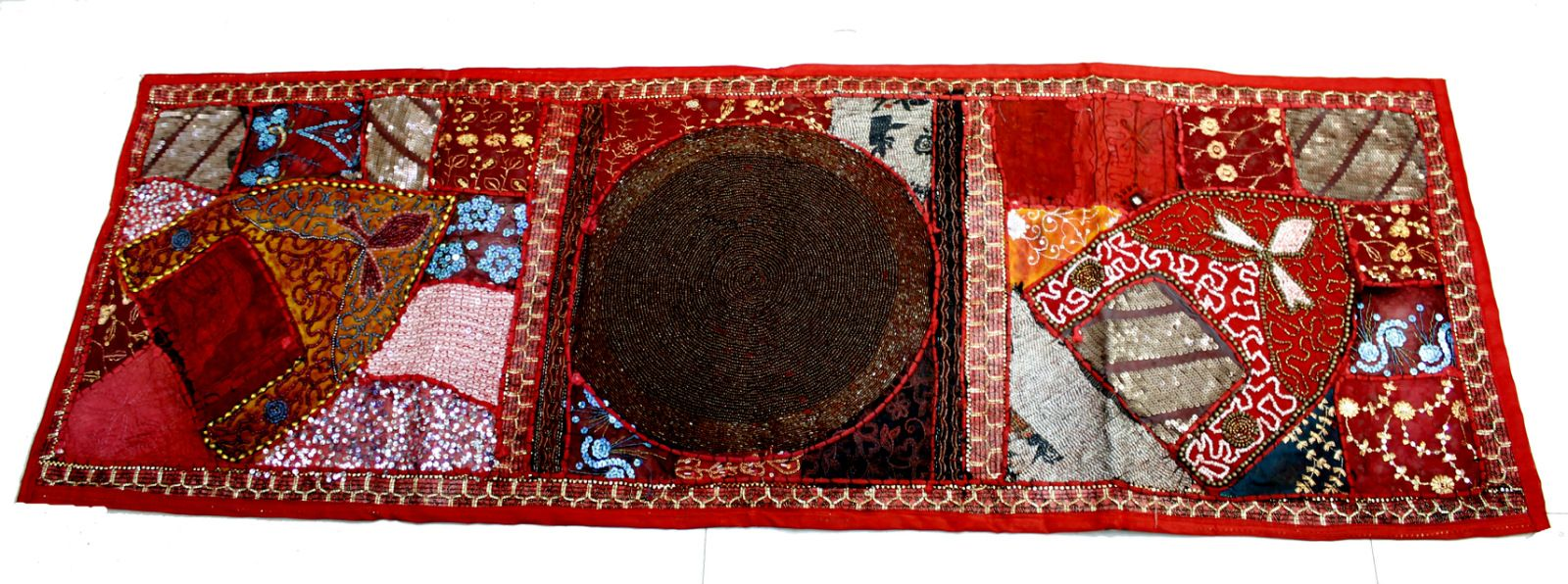 (SKU NO:Heavy Beads Circle Table Runner 103a) Red Indian Table Runner Hand