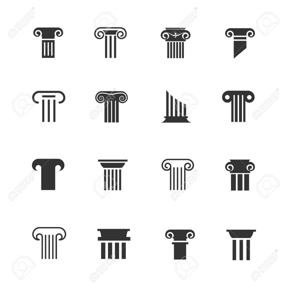 Ancient Greek And Roman Column Icons Architectural Pillar Vector Roman Columns Greek Icons Ancient Egyptian Architecture
