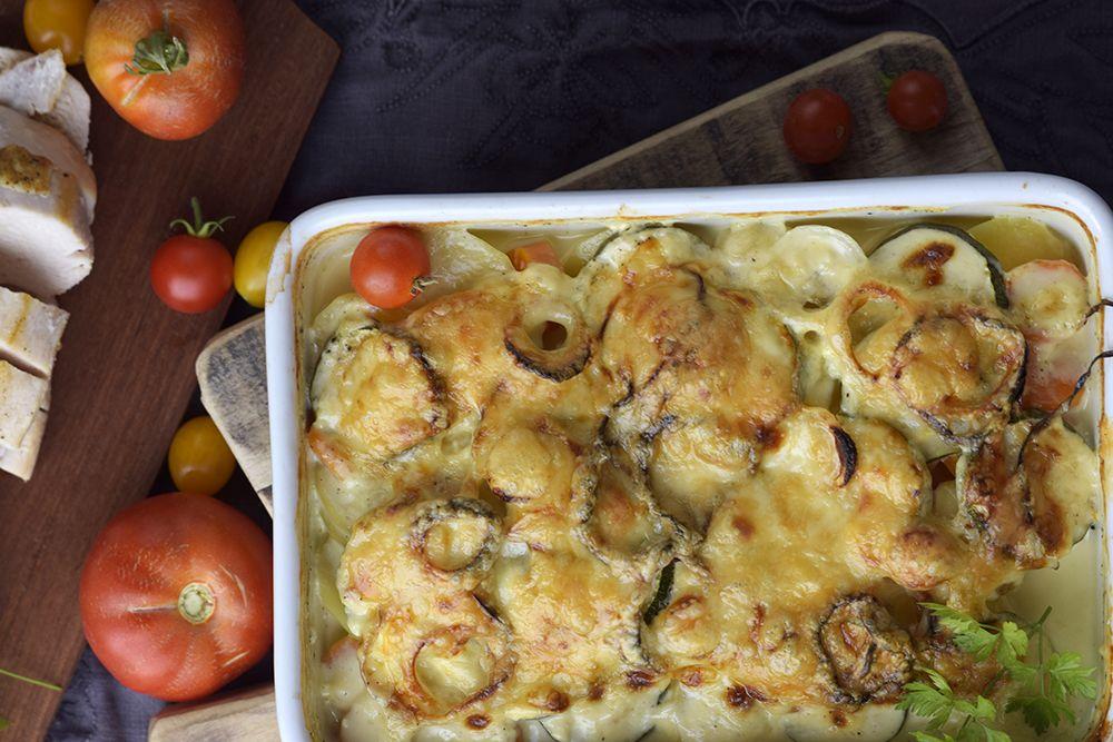 grønnsaksgrateng med potet og squash