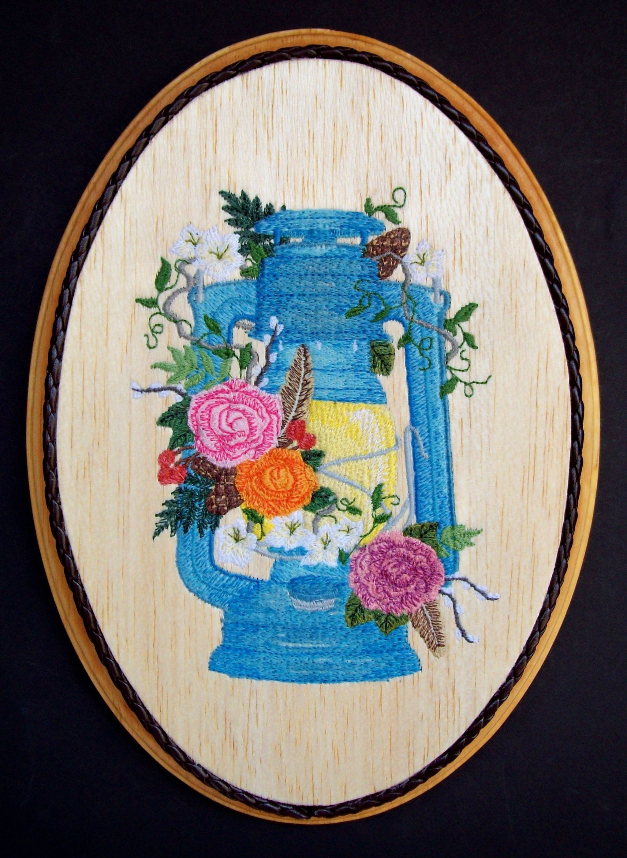 Camping Decor, Lantern Embroidery Wood Art, Lodge Decor, Country ...