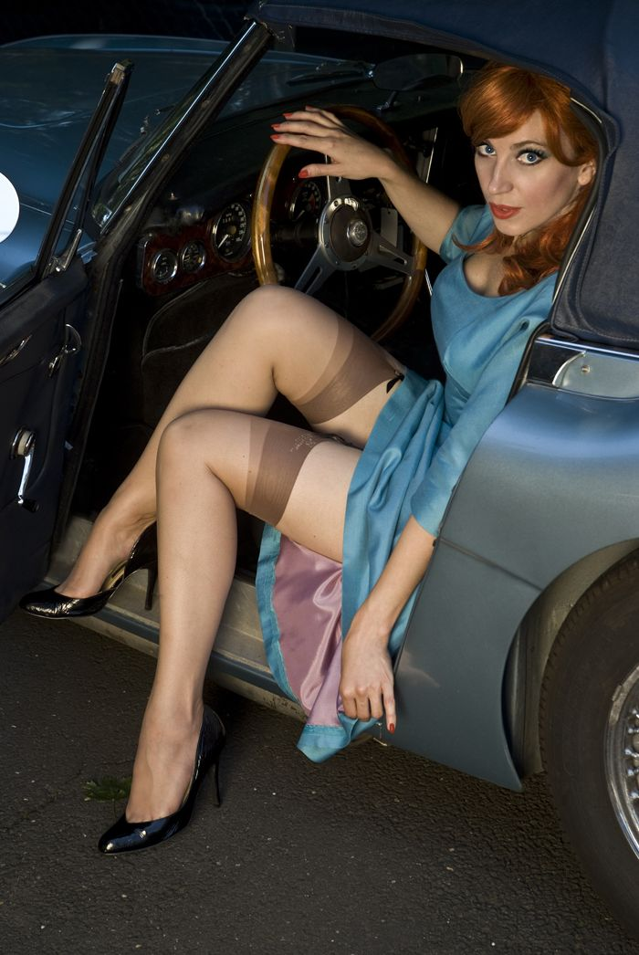 in Women wearing car stockings