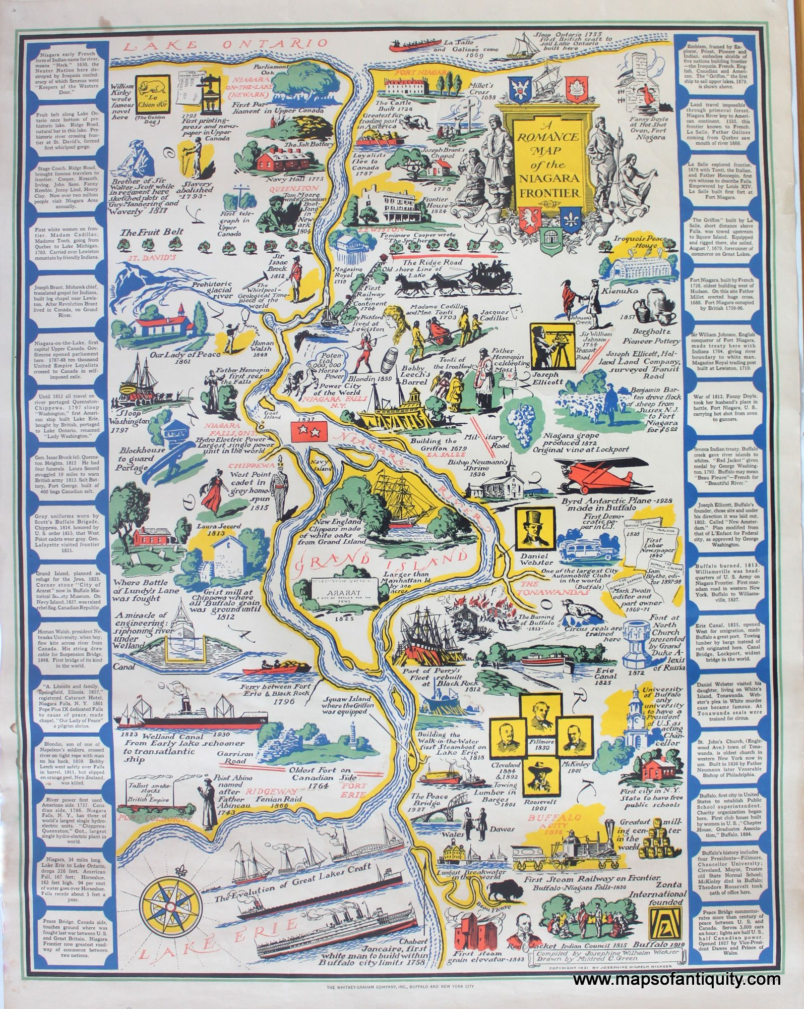 A Romance Map Of The Niagara Frontier Antique Maps And Charts Original Vintage Rare Historical Prints Reproductions