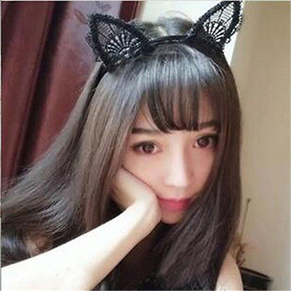 Women Lady Girl Kids Cute Cat Kitty Costume Ear Party Lace Hair Head Band PropJH