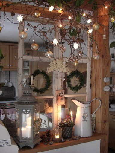 Raam Op De Bar Weihnachtlich Dekorieren Alte Fenster