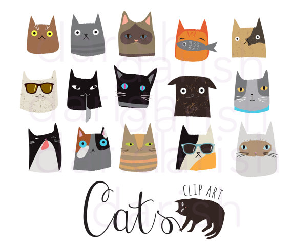 Cute Cat Clip Art Cat Clipart Digital Cat Png Animal Ot Matrena Cat Graphic Design Cat Clipart Cat Graphic