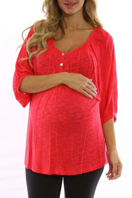 Red Flowy Button Maternity Top Inexpensive Maternity Clothes Maternity Clothes Cheap Maternity Clothes
