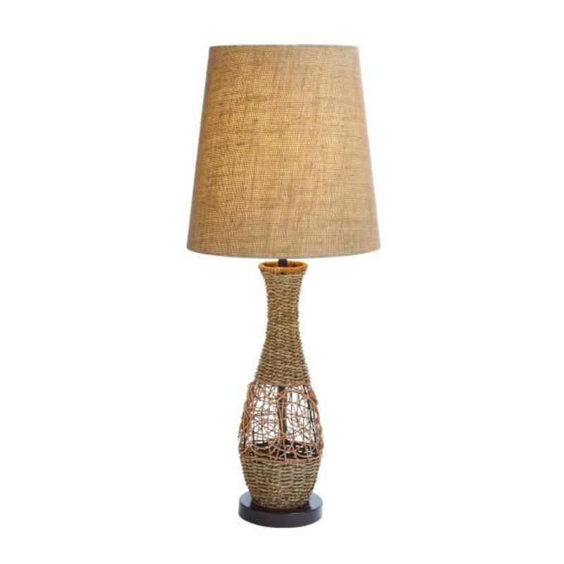 This Lamp Is Made From Woven Rattan Along A Wire Base Of The Body And The Base Of This Decorative Table Lamp Is Made From Cast Metal Lamp Jute Lamp Table