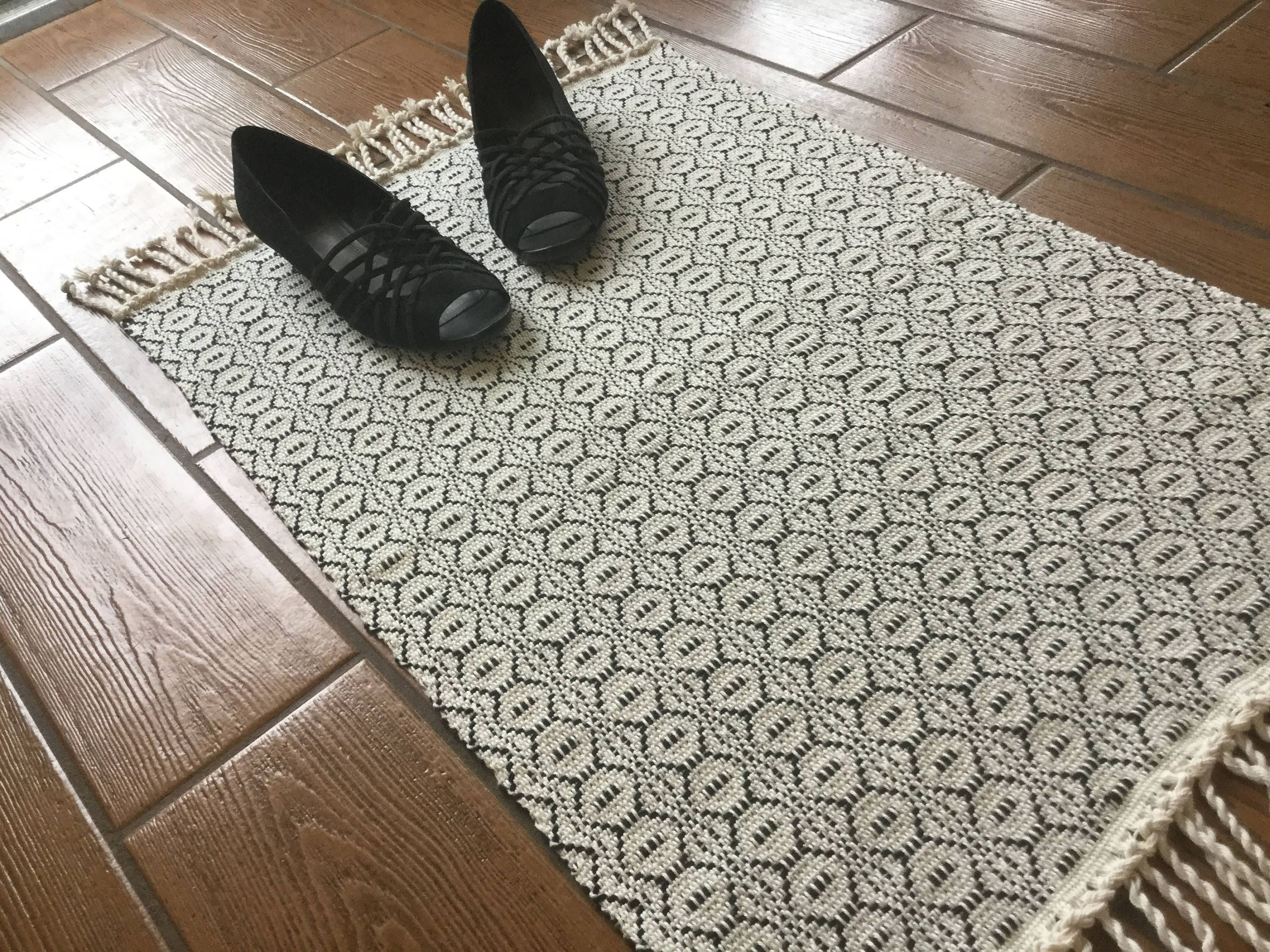 Farmhouse Kitchen Rug Black And White Rug Handwoven Cotton Rug