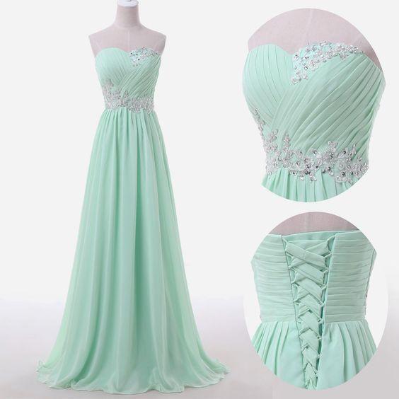 green chiffon sweetheart prom dress evening formal gown