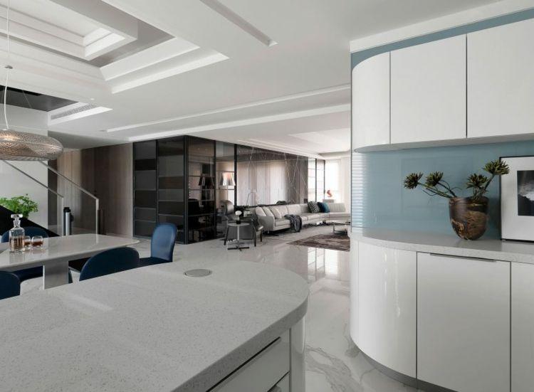 boden-mamorfliesen-küchenbereich-kochinsel-schränke-bild - bodenbelag für küche