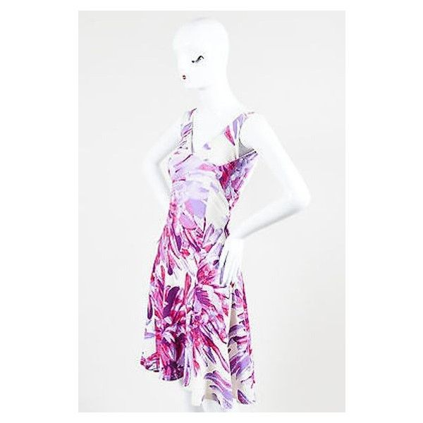 Pre-Owned Just Cavalli Pink Purple and White Floral Print Flared Open... ($95) ❤ liked on Polyvore featuring dresses, multi, white dress, purple floral dress, fit and flare dress, floral fit and flare dress and pink floral dress