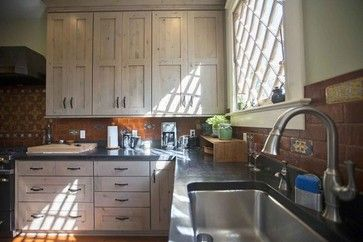 Knotty Alder cabinets driftwood finish accentuated by a ...