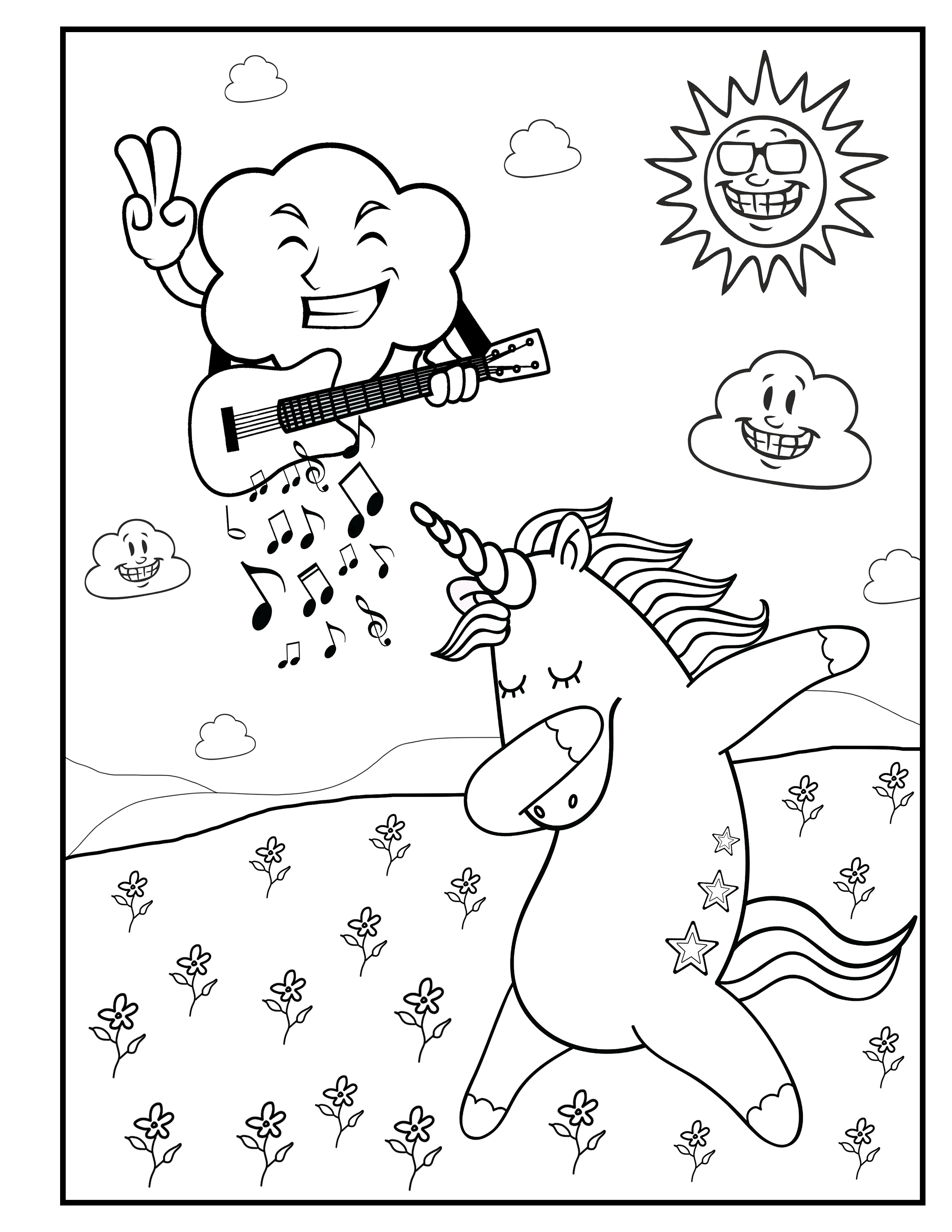 Music For The Happy Unicorn Unicorn Coloring Book For Kids By Katrin Brown Image 1 Dance Coloring Pages Coloring Pages Funny Coloring Book