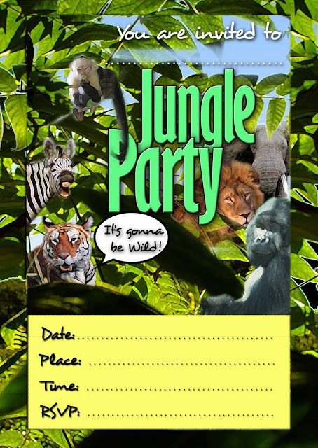 FREE Kids Party Invitations Animal Themed Jungle Theme Parties Safari