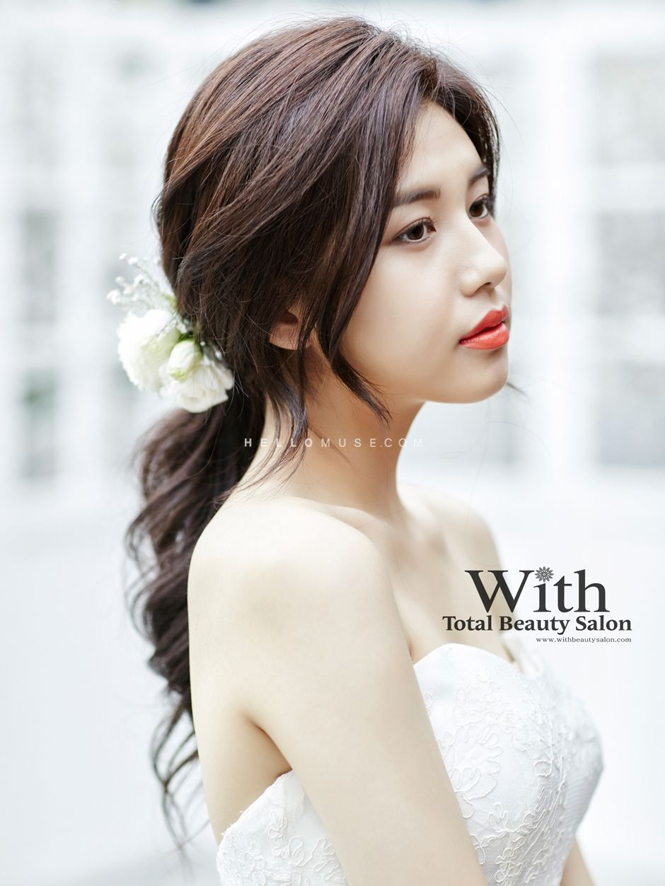 With Beauty Salon In Korea Korean Style Wedding Make Up Korean Wedding Styling Korean Wome Casual Wedding Hair Trendy Wedding Hairstyles Korean Wedding Hair