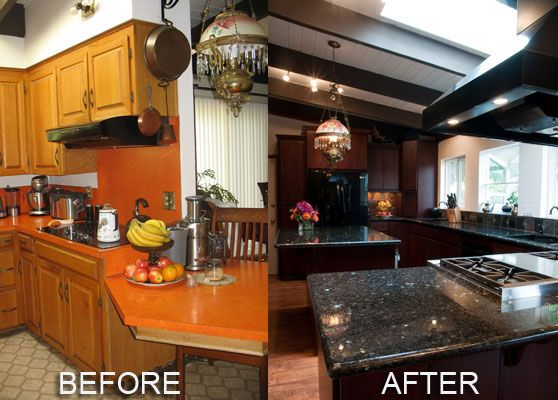 Pictures Of Remodeled Kitchens Before And Afters Renovating Cabinets And Countertops Can Make A Huge Differenceit