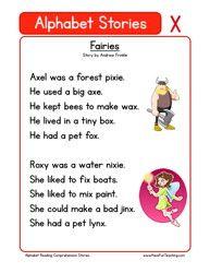 Kindergarten Reading Comprehension Worksheet - Alphabet Stories - X