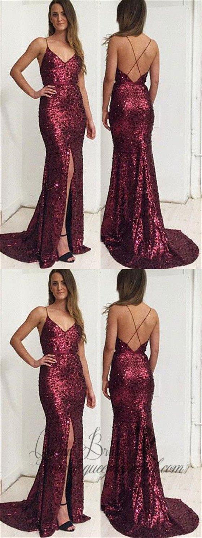 Gold mermaid prom dresses with slit backless formal dresses qb