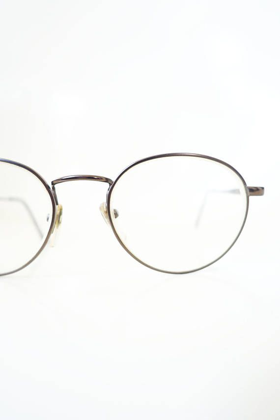 27647184c Vintage Round Glasses 1980s Copper Geek Chic Womens Girls Nerdy 80s Eighties  Geeky Retro Wire Rim