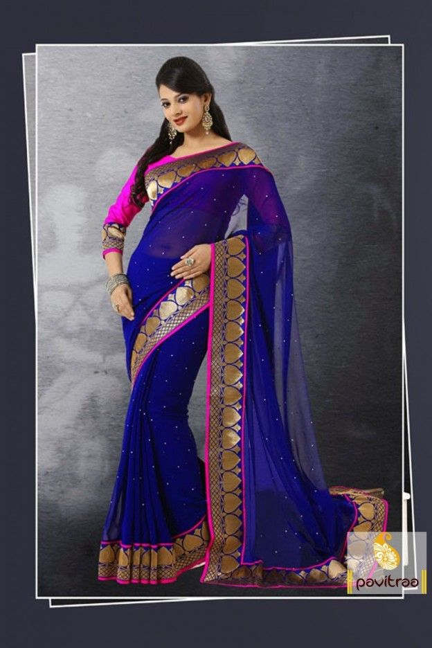 Blue And Pink Party Wear Sarees With Golden Embroidered Work On The Border Part Fully Stone Elegant Color Combination An Unsched Blouse