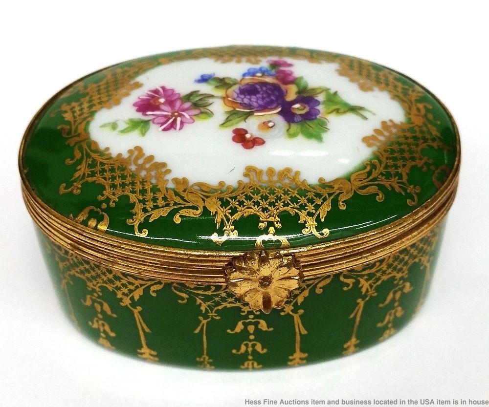 Vintage Hand Painted Limoges France Porcelain Floral Gilt Trinket Box Limoges Trinket Boxes Hand Painted Gilt