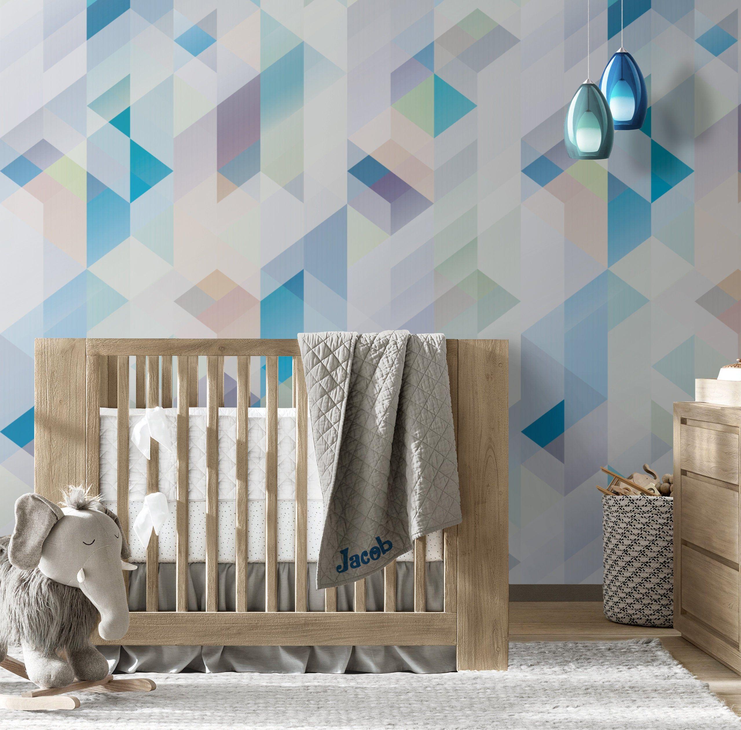 Geometric Pattern Repositionable Wallpaper Peel Stick Etsy In 2020 Geometric Pattern Wallpaper Textured Walls Geometric Pattern