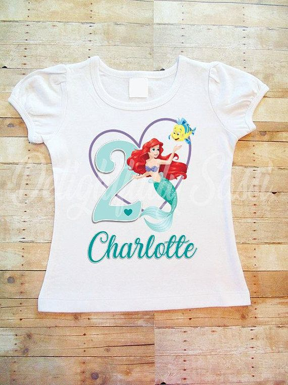 Ariel Birthday Shirt Little Mermaid Personalized Girls M