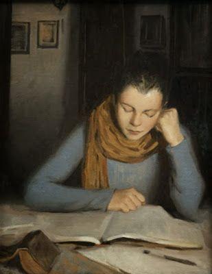 """Reading"", 2010. Daniela Astone (1980-), Italian painter. #estudi"