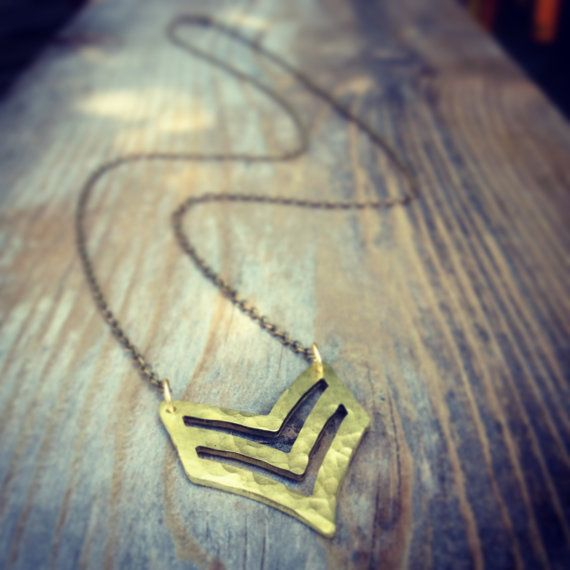Hammered Brass Chevron Necklace by sweetBella on Etsy, $38.00