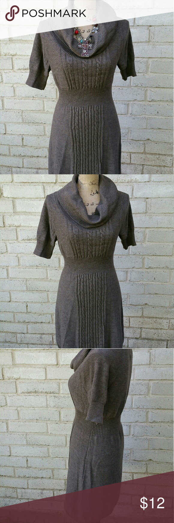 Dark Taupe Brown Cowl Neck Sweater Dress Large | Cowl neck sweater ...