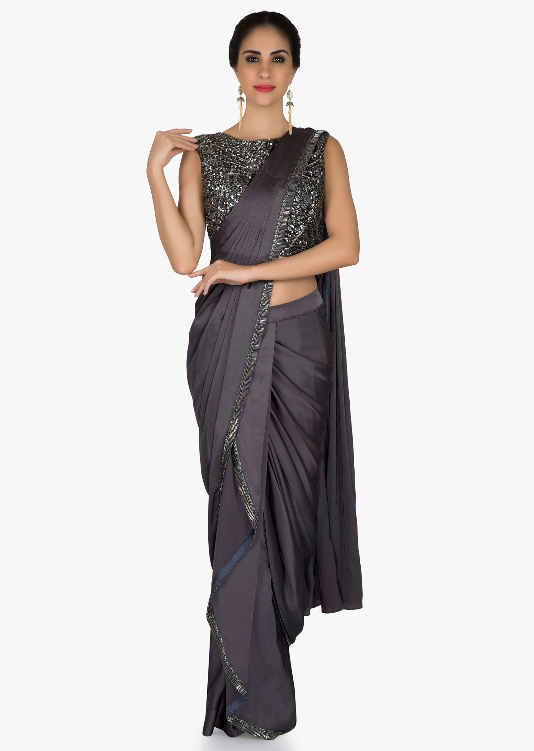 936691e51a Grey pre stitched saree featuring in satin. Enhanced in pre stitched pleats  in along with cascade and cowl drape with cut dana border.