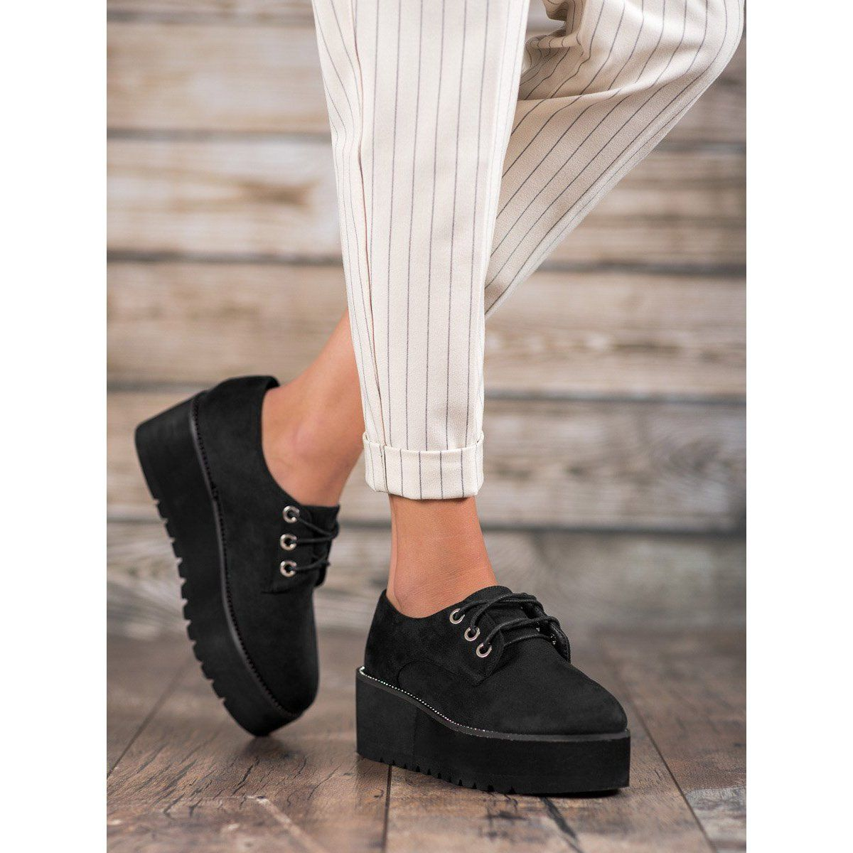 Shelovet Zamszowe Polbuty Na Platformie Czarne Black Shoes Women Shoes Women Heels Suede Shoes
