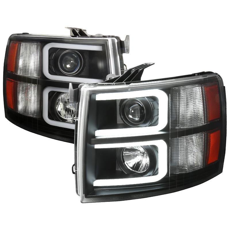 Spec D Projector Headlights Chevy Silverado C Bar Led Drl 07 13 Black Chrome Chevy Silverado Chevrolet Silverado Silverado