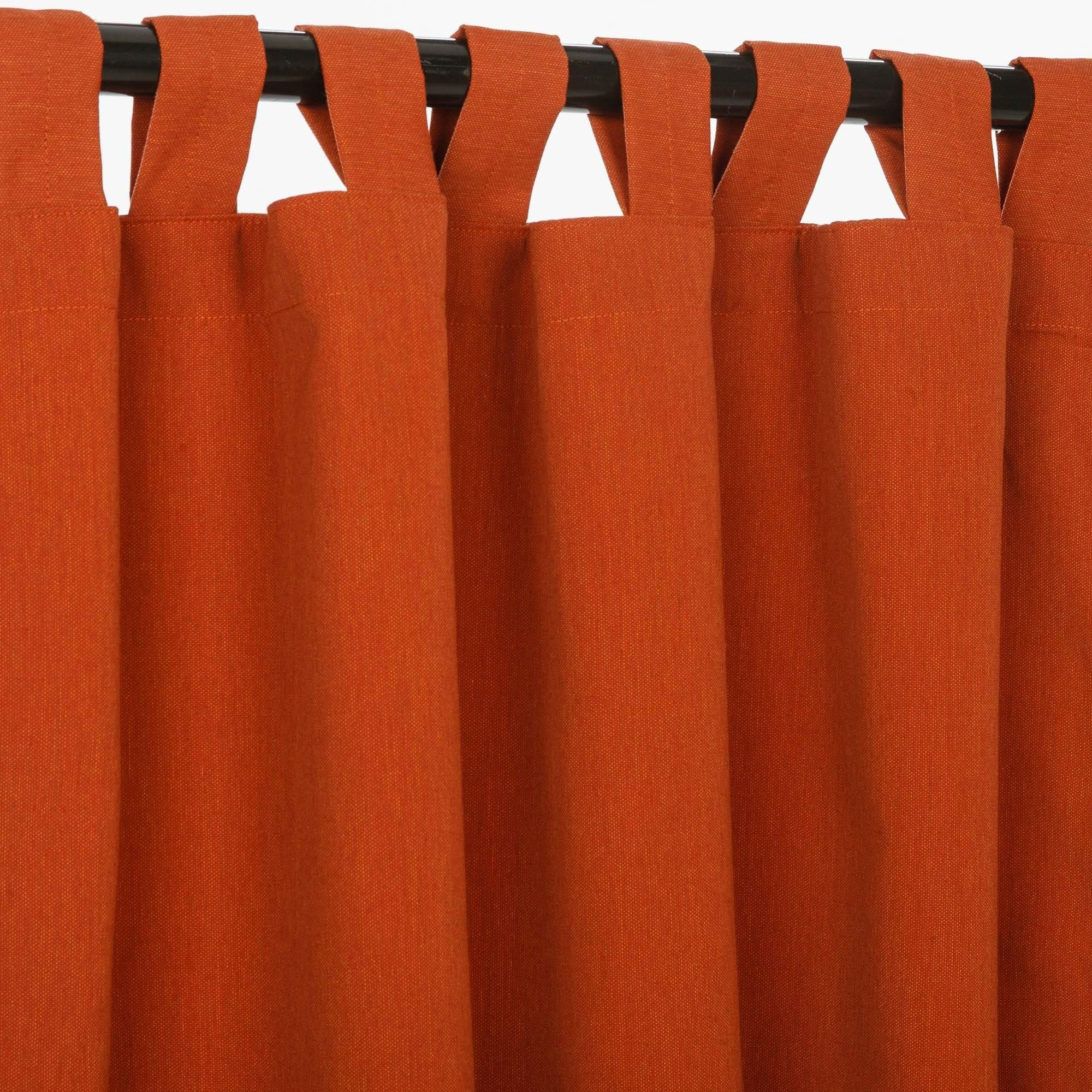 Canvas Brick Sunbrella Tab Top Curtain Panel 4 Length