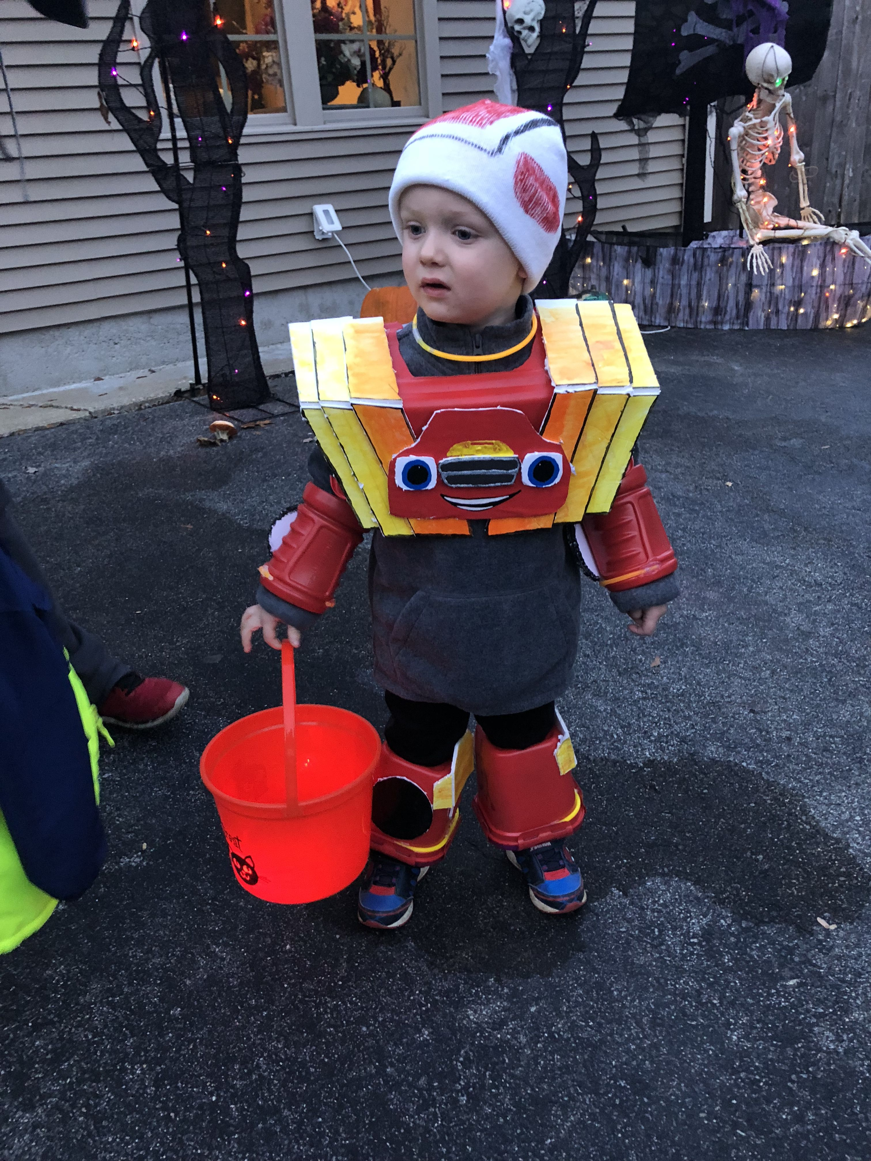 Homemade Robot Blaze costume from Blaze and the Monster